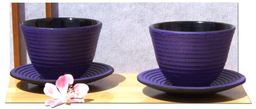 Cast iron purple Zen Ripple tea cup and round coaster X2